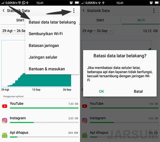 membatasi penggunaan data seluler pada aplikasi