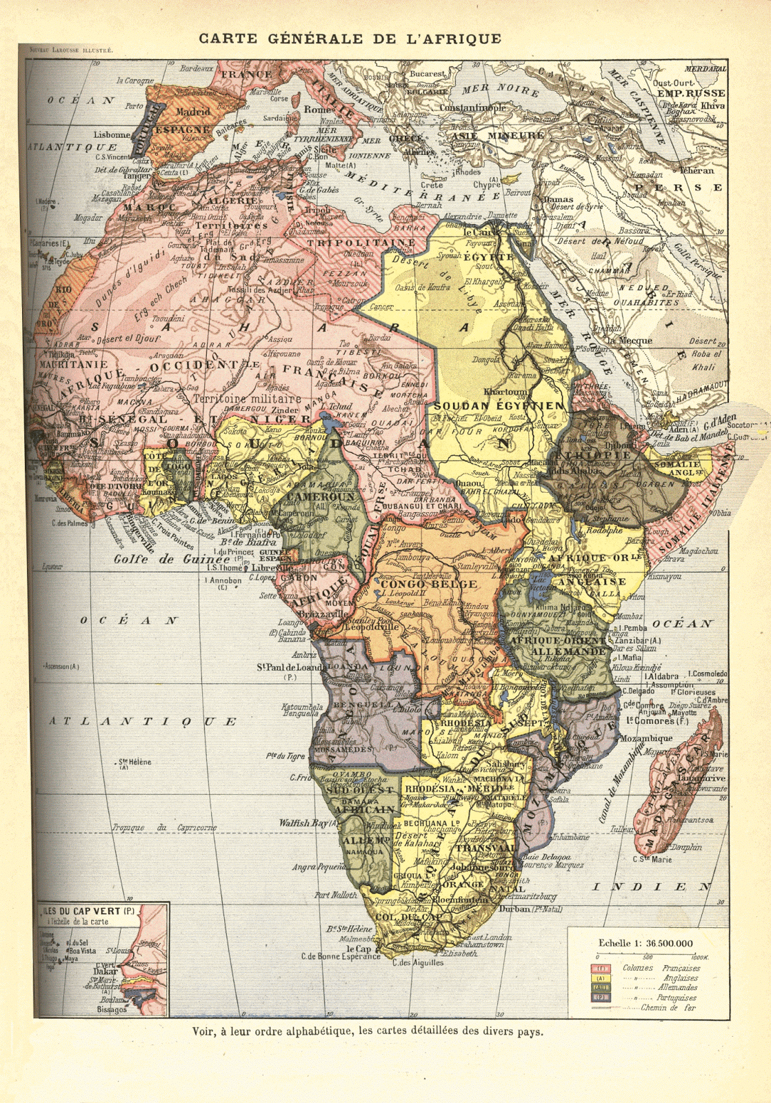 French Map of Colonial Africa (1911)