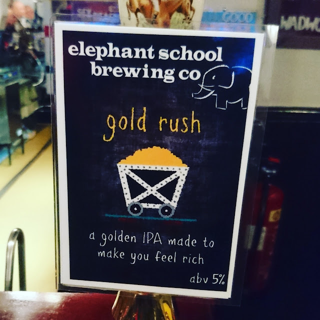 Essex Craft Beer Review: Gold Rush from Elephant School Brewing Co. real ale pump clip