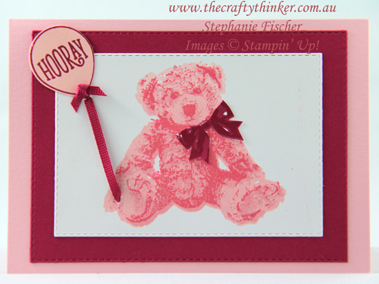 #thecraftythinker  #stampinup  #cardmaking  #babybear , Baby Bear, Card for a little girl, Stampin' Up Australia Demonstrator, Stephanie Fischer, Sydney NSW
