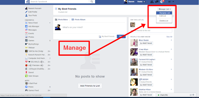 Create Facebook Friends Lists Manage it