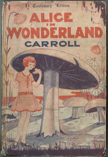 "A cover for ""Alice in Wonderland"" in which a flapper-like Alice stands next to a giant mushroom."