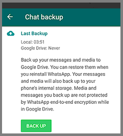 google drive whatsapp backup