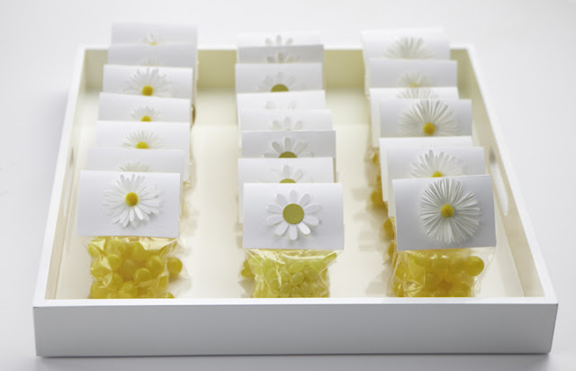 darcy miller, daisy party, summertime, yellow candy party favors