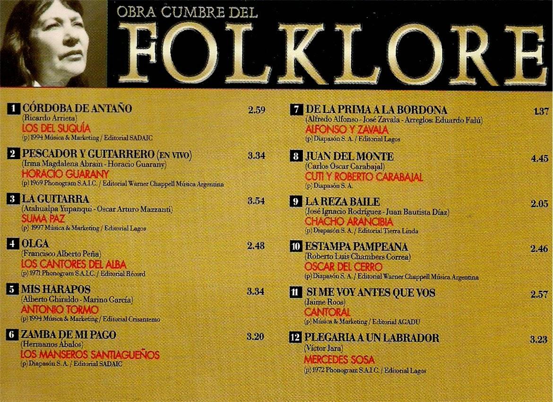 obras cumbres del folklore volumen 27 contratapa