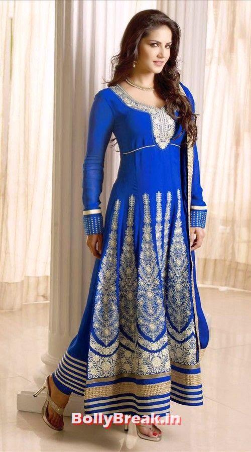 Sunny Leone in Blue Anarkali salwar kameez, Sunny Leone Anarkali Churidar Pics, Sunny Leone in Indian Clothes