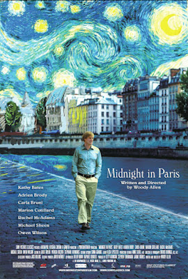 Poster for with Owen Wilson walking along Paris street and sky above rendered like Van Gogh's 'Starry Night'