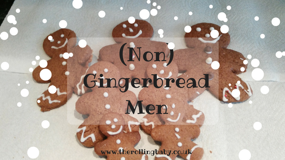 Large, medium & small gingerbread shaped biscuits, decorated with icing