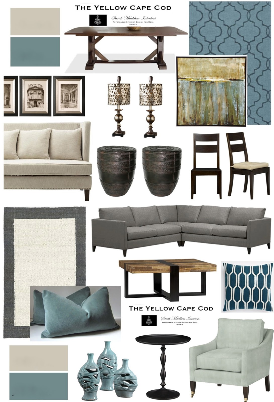 """The Yellow Cape Cod: """"Tempered"""" Teal Dining/Living Room"""