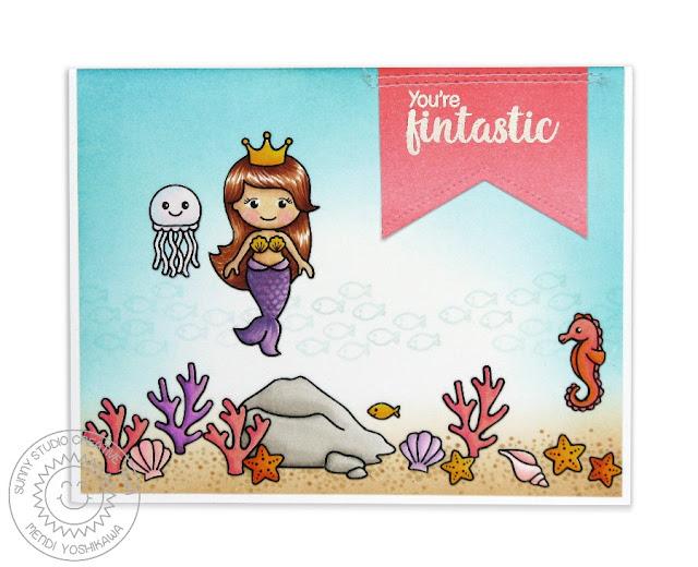 Sunny Studio Stamps Magical Mermaids Ocean Scene Card by Mendi Yoshikawa