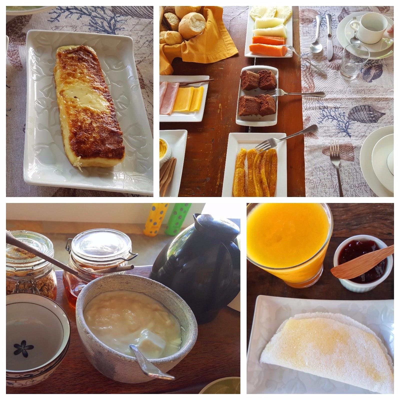 café da manhã na Pousada Vila Cobé