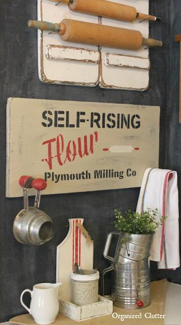 Self Rising Flour DIY Sign - Vintage Stencils www.organizedclutter.net