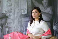 Mannara Chopra in Silky White Salwar Suit with Pink Chunni Latest Exclusive Pics March 2017 ~  006.JPG