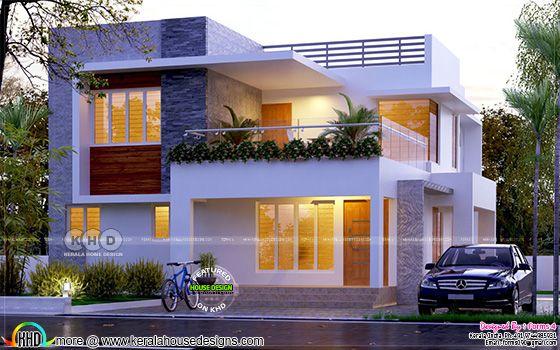 4 bedroom modern flat roof house plan