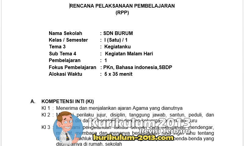 Contoh RPP (Rencana Pelaksanaan Pembelajaran) Kurikulum 2013 Terbaru