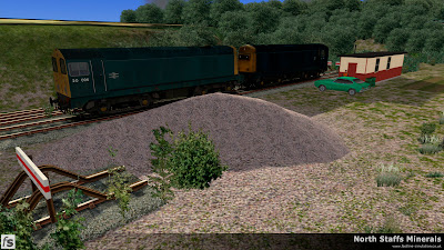 Fastline Simulation - North Staffs Minerals: A pair of Class 20s wait in the head shunt at Hem Heath Colliery while the crew have their PNB in North Staffs Minerals a route for RailWorks Train Simulator 2012.