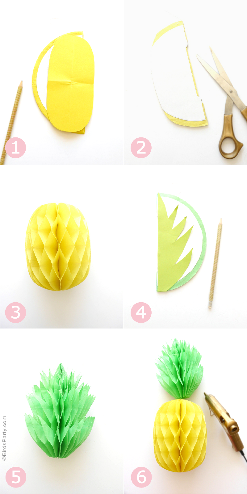 DIY Pineapple Honeycomb Party Decorations - BirdsParty.com