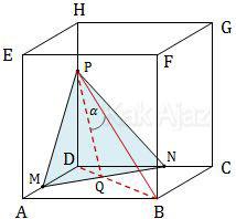 Kubus ABCD.EFGH dengan titik M, N, dan P pada rusuk kubus dengan perbandingan 1 : 2, sudut antara bidang MNP dan garis PB