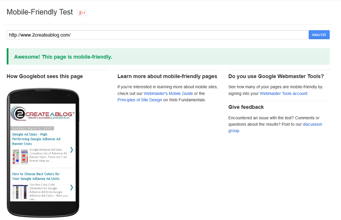 Mobile Friendly Sites Test