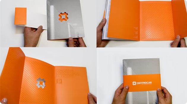 folder laranja com verniz localizado