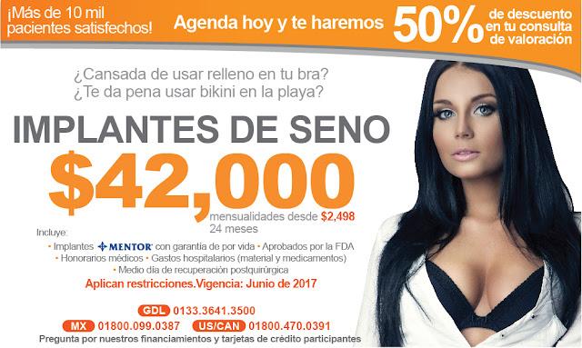 precio aumento de mama senos guadalajara
