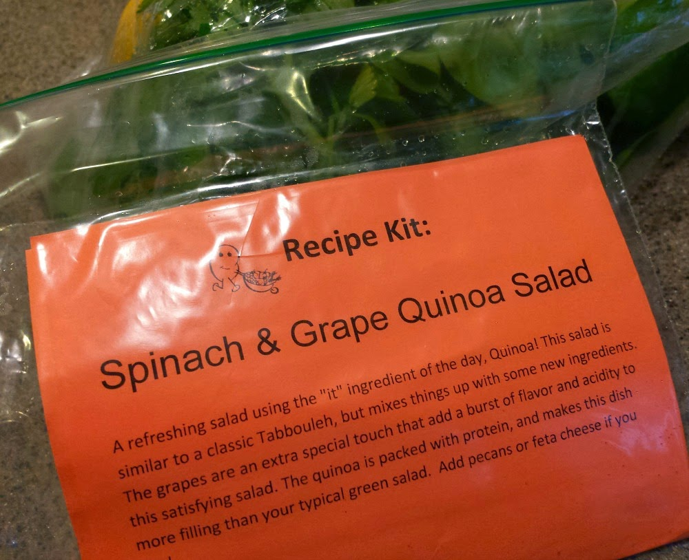 A quick and easy cooking with produce recipe. Spinach and Grape Quinoa Salad courtesy of Papa Spud's produce delivery service.