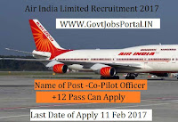 Air India Limited Recruitment 2017 for Co-Pilot Officer Post