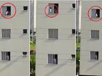 Menakutkan, Balita Berjalan di Jendela Apartemen Lantai Tiga