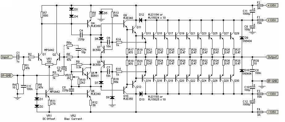 1500w power amplifier circuit