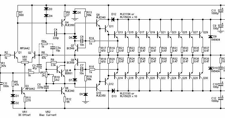 1500w power amplifier circuit