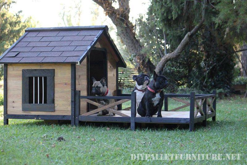 Caseta para varios perros con porche - Casa de perro con palets ...