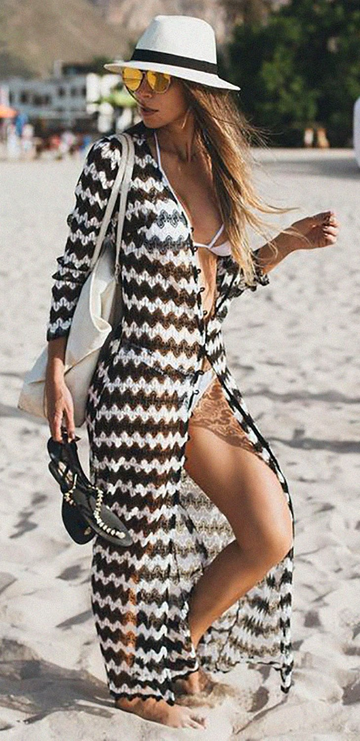 what to wear with a hat : bag + bikini + sandals + long cardigan