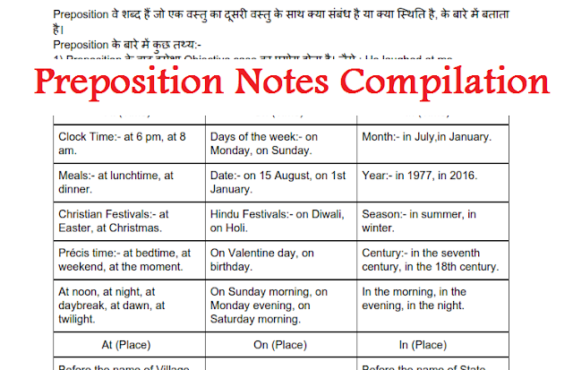Preposition Notes Compilation for Competitive Exams- Download PDF