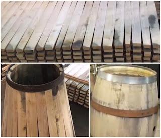 Making a barrel using oak staves