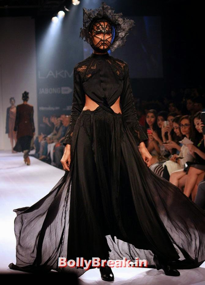 A model in a Surbhi Shekhar creation, Bizarre Dresses from Fashion Show - LFW
