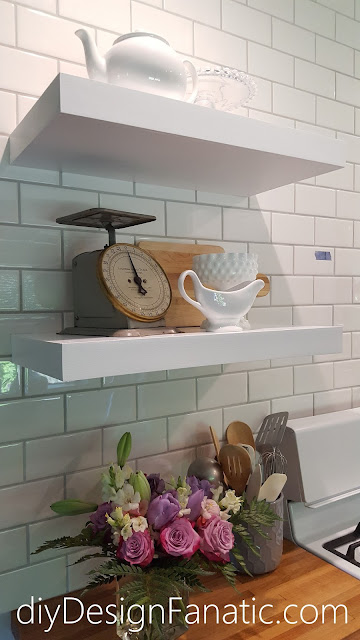 Open shelves, wood countertops, kitchen reno, mountain cottage, cottage style, cottage kitchen, farmhouse style, farmhouse, white kitchen, subway tile, cottage style, cottage kitchen, white kitchen