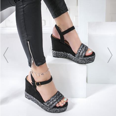 Sandale dama cu platforma inalta casual negre la moda ieftine
