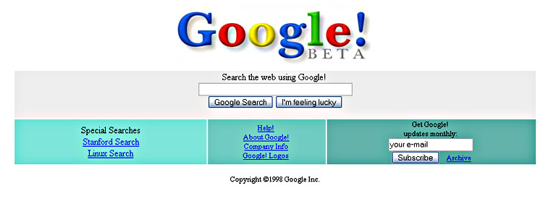 Google home page 1998