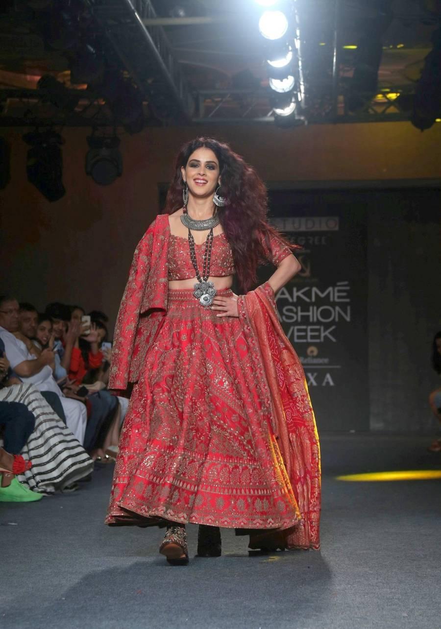 Indian model Genelia Deshmukh At Lakme Fashion Week 2019
