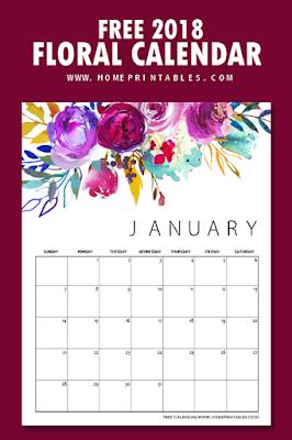 free 2018 floral calendar