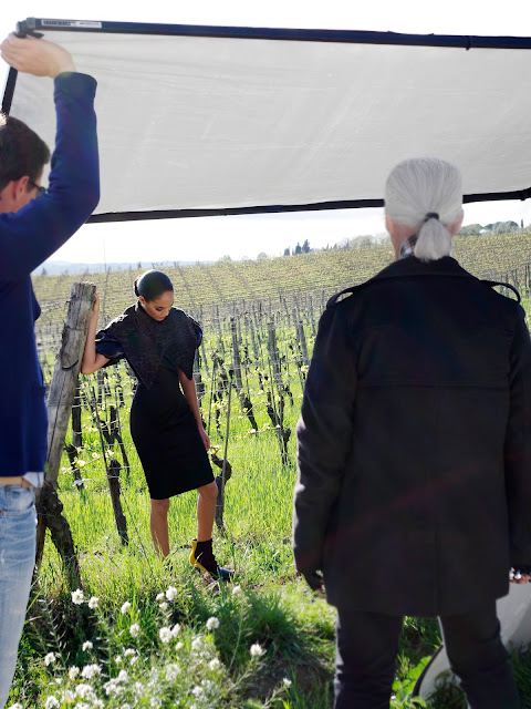 Fendi's Fall/Winter 2012-13 AD Campaign Shoot Behind the scenes Karl Lagerfeld Joan Smalls