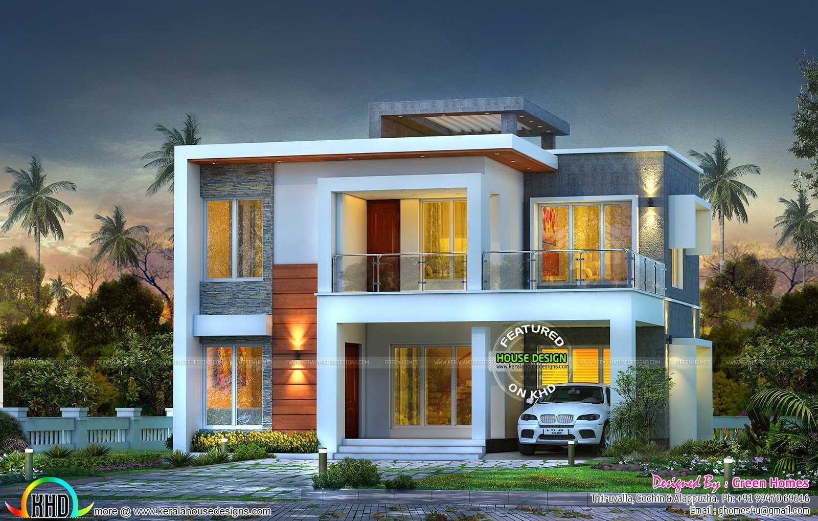 Contemporary 3 bedroom home 1800 sq ft kerala home for 1800 floors