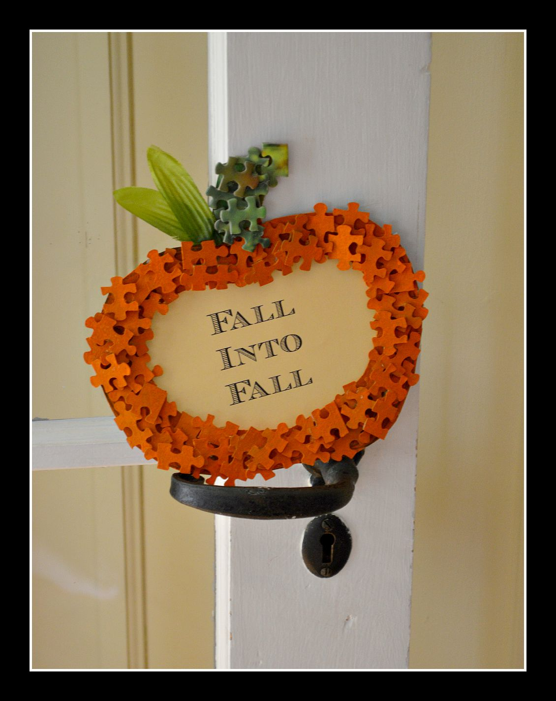 Puzzle piece pumpkin frame with Fall into fall words