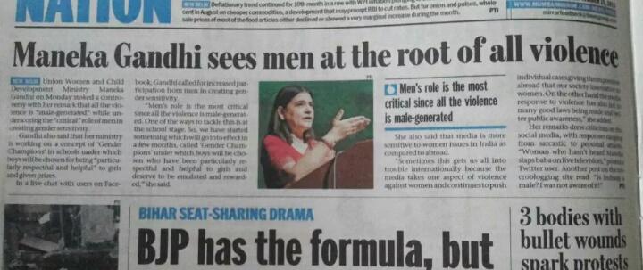 STOP ABUSE OF MEN: Maneka Gandhi Hate Speech: Men are Root ...