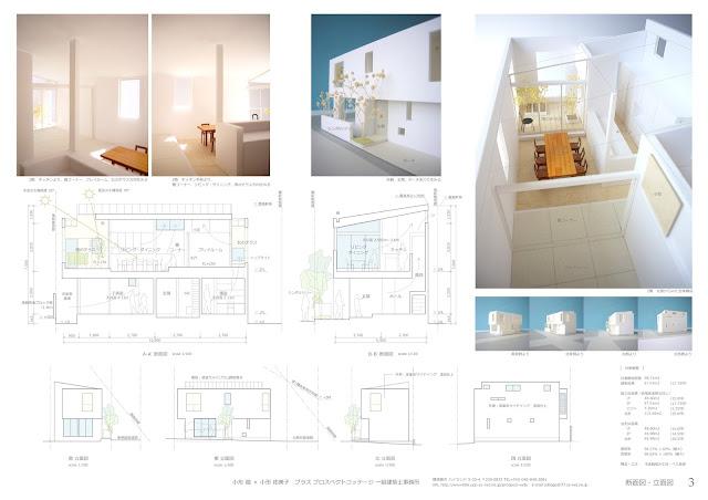 住宅密集地に建つふたつのテラスを持つ上品な家 断面・立面計画と室内のイメージ