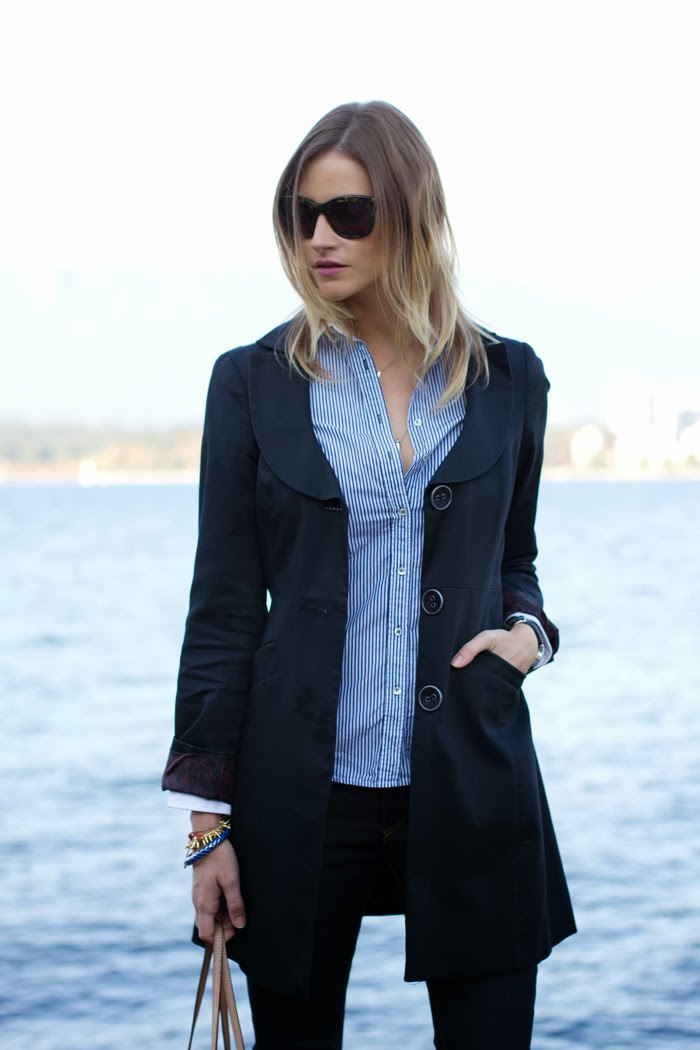 Vancouver Fashion Blogger, Alison Hutchinson, is wearing an RW & Co navy trench coat, Zara blue striped button up top, Rag & Bone skinny jeans, Zara black suede pumps, and a Michael Kors tote.