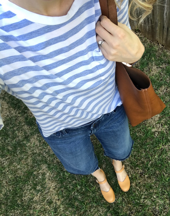 Spring style, spring outfits, capsule wardrobe, working mom style, work outfits, casual outfits, casual style, clogs, boyfriends jeans, distressed denim, fossil, fossil watch, peplum, culottes, mom style, minimalist style, swedish hasbeens, clogs