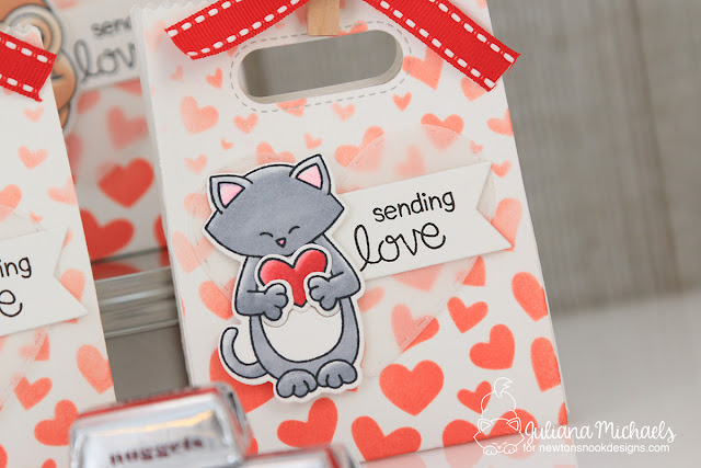 Valentine's Day Treat Bags with Stencils Ombre Background by Juliana Michaels featuring Newton's Nook Designs Sending Hugs Stamp Set and Tumbling Hearts Stencil