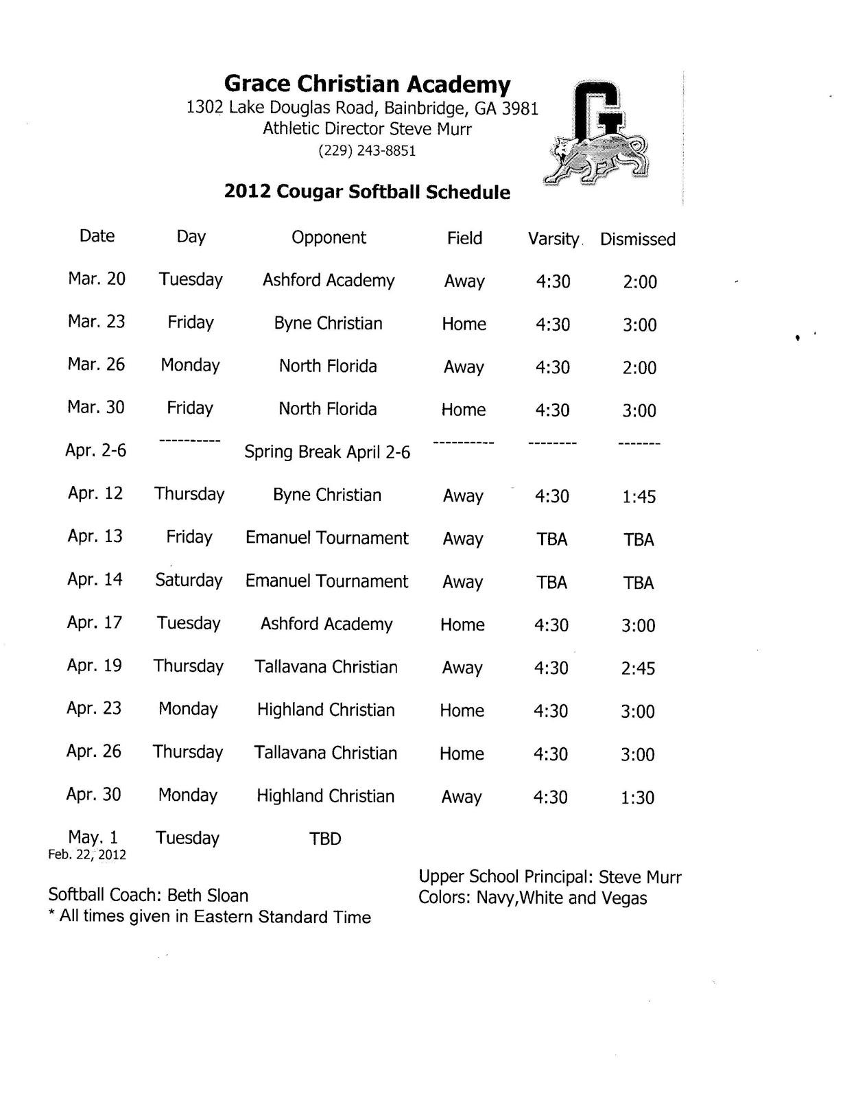 grace christian academy  2012 softball schedule