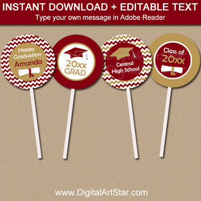 printable graduation party decorations - cupcake toppers in burgundy and gold